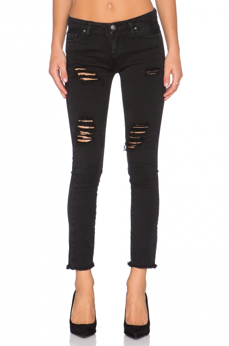 Siyah Jarod Distressed Crop Jean Pantolon